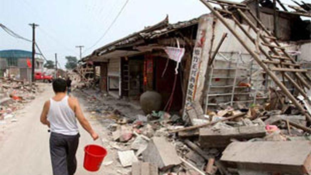 Imagen del terremoto en China. Foto: EFE.