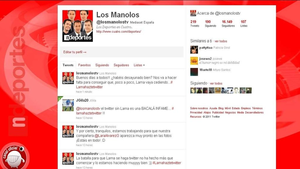 Campaña para que Lama se haga twitter