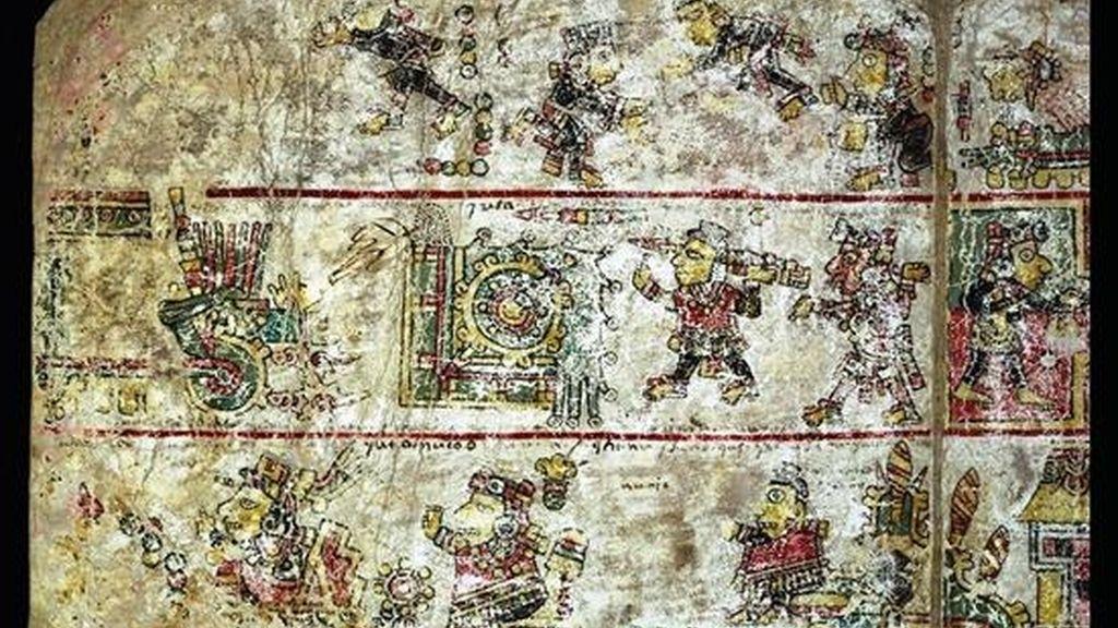 Imagen cedida por el Instituto Nacional de Antropología e Historia (INAH) mexicano del códice Colombino, uno de los cinco códices de los siglos XII al XVI que México ha aportado para la web de la Biblioteca Digital Mundial (BDM) de la UNESCO. EFE/INAH