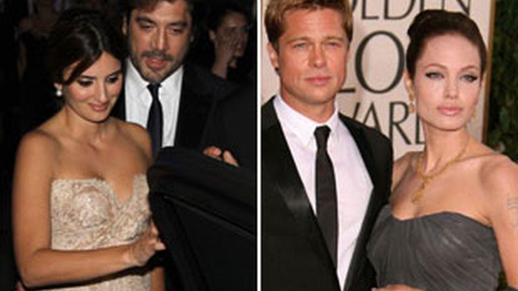 Brad, Angelina, Javier y Penélope en dos entregas de premios.