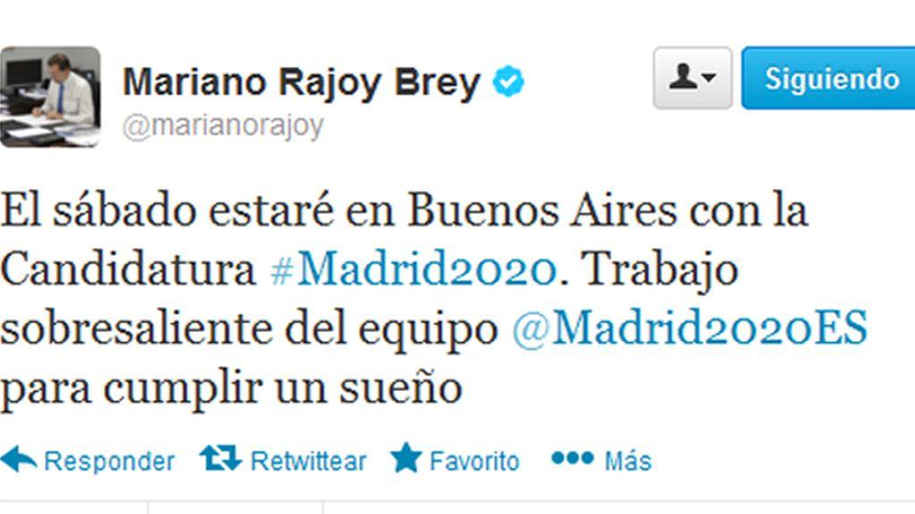 """Rajoy elogia el """"trabajo sobresaliente"""" de la candidatura de Madrid 2020"""