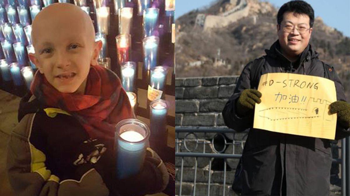 Niño con cáncer, famoso en China