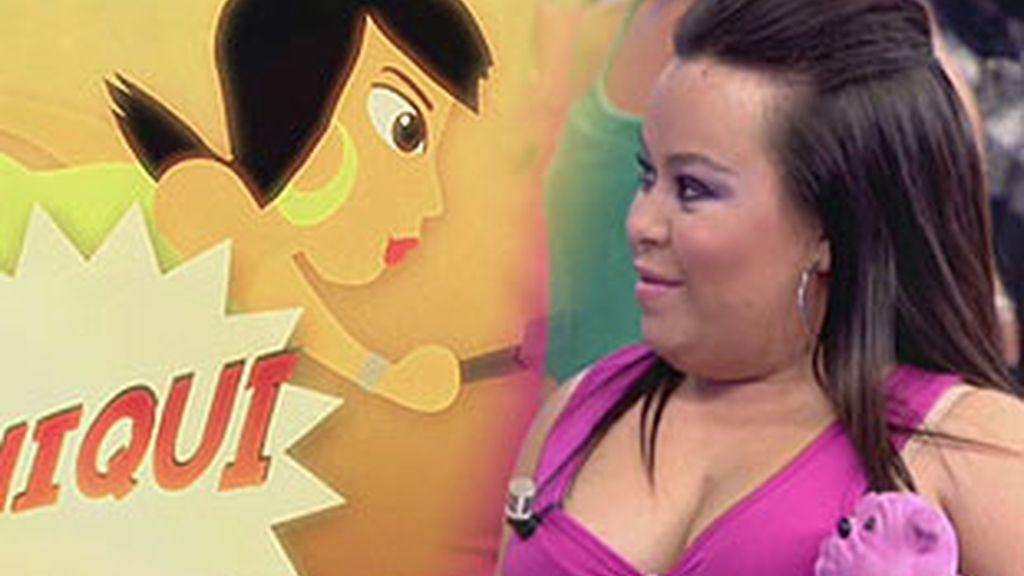 Almudena Martínez, 'Chiqui' durante la emisión de 'Sálvame'