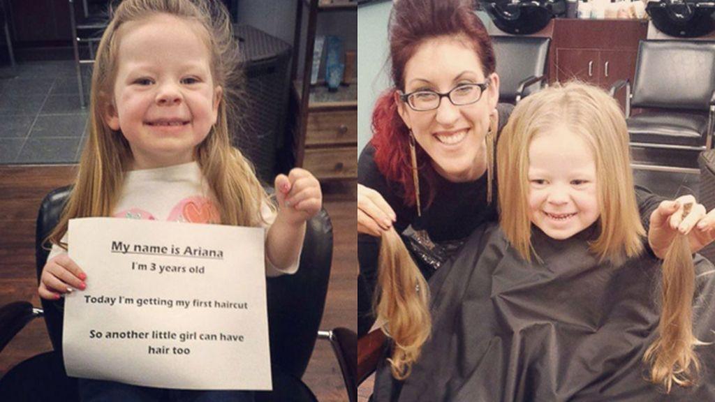 Con tres años dona su pelo para que otras niñas enfermas puedan usarlo