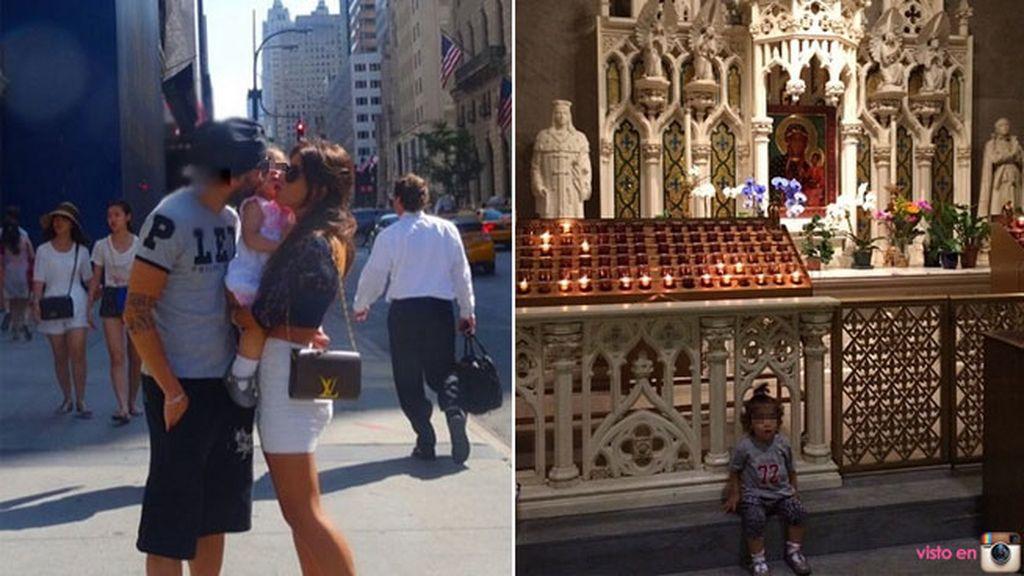 Cesc Fábregas con la familia en Nueva York
