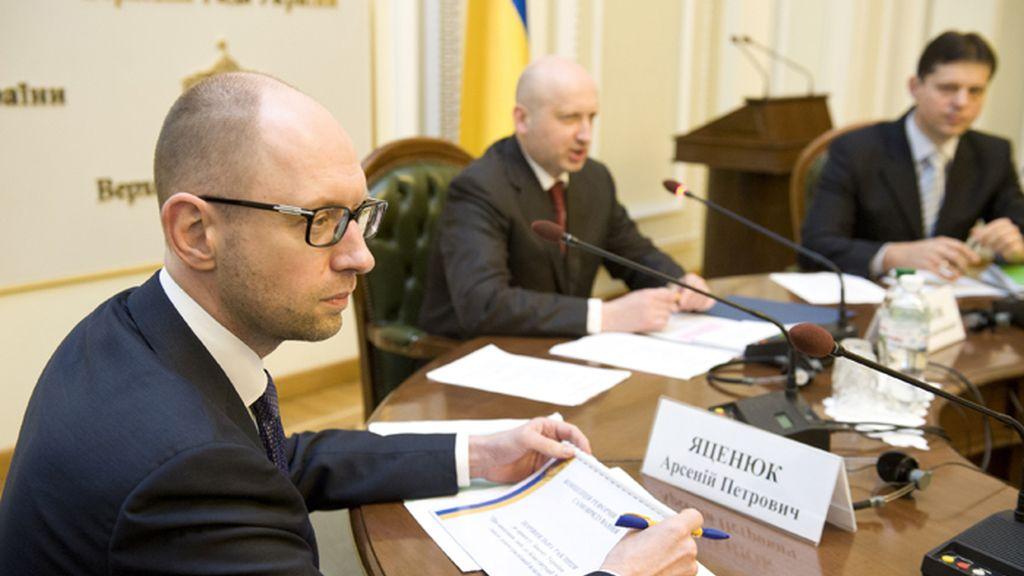 Yatseniuk y Turchinov se reunen con una representación de la Rada en Kiev