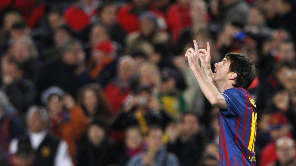 Messi celebra su tanto ante el Leverkusen