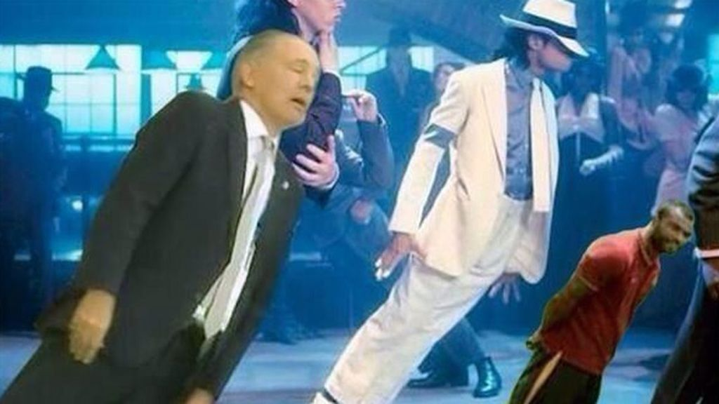 Ashley Cole bailando junto a Sabella y Michael Jackson