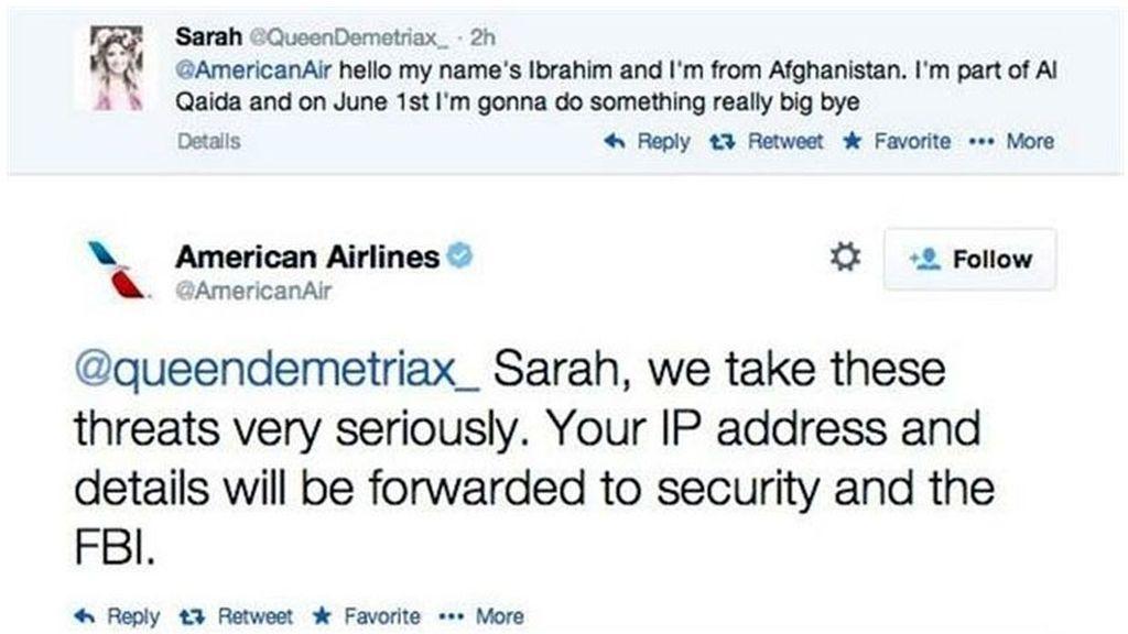 adolescente,falsa amenaza terrorista,Twitter,American Airlines,Sara