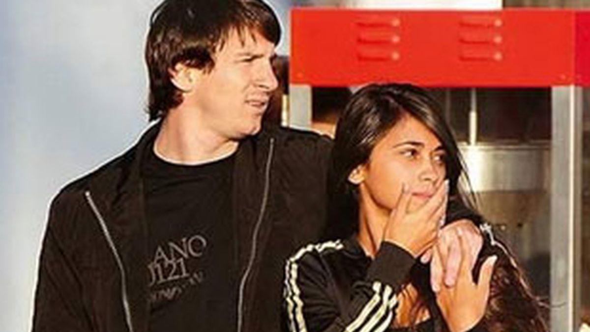 Messi y Antonella en una imagen de archivo. Foto: AP
