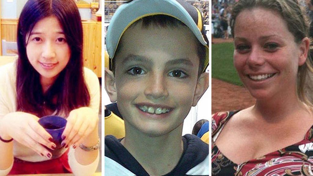 Lü Ligzi, Martin Richard y Krystle Campbell, las tres víctimas mortales del atentado de Boston