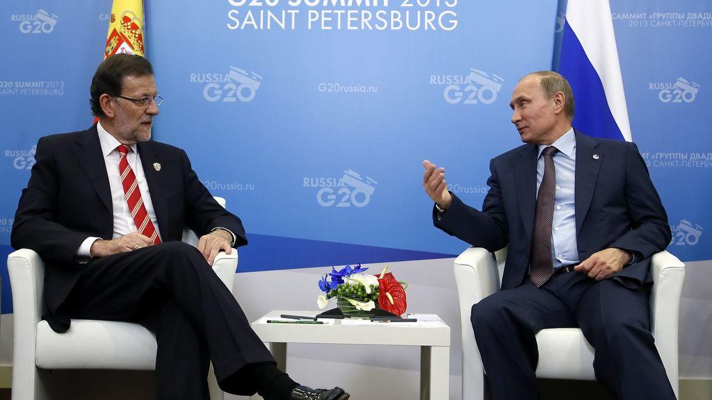 Rajoy durante su encuentro con Putin en la cumbre del G-20