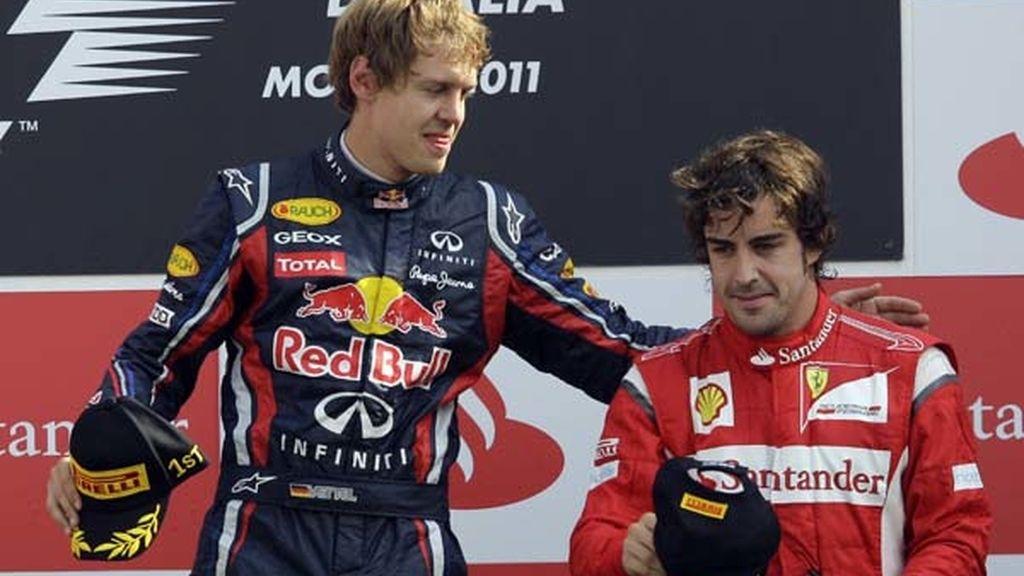 Vettel y Alonso en el podio