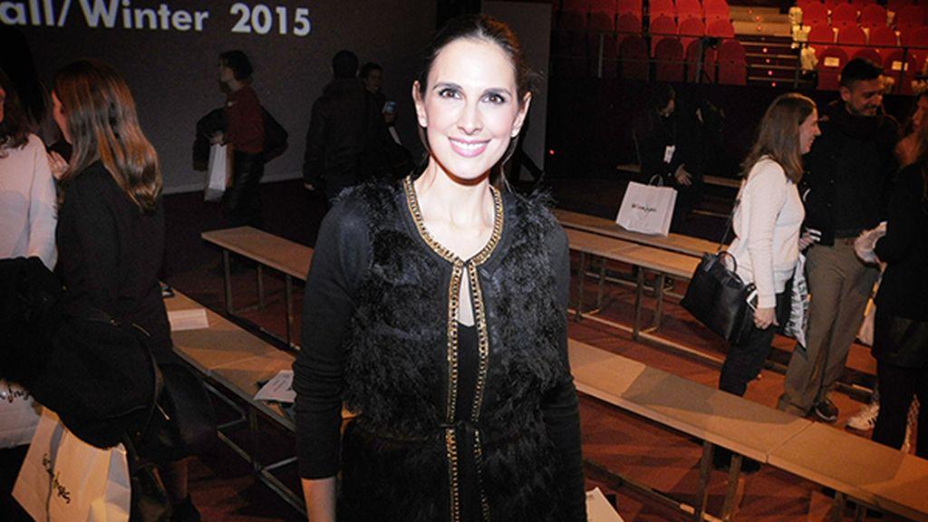 La cantante Nuria Fergó fue otra de las celebrities que iliminaron el front row del desfile de Jockey