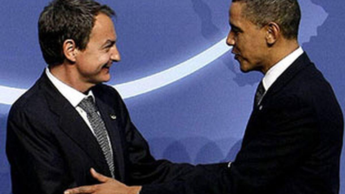 El presidente del Gobierno, José Luis Rodríguez Zapatero, y El rpesidente de EEUU, Barcak Obama, en una imagen de archivo.