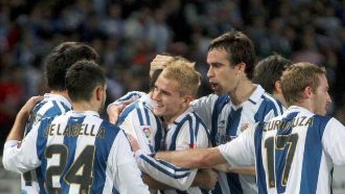 La Real celebra uno de los goles. Foto: EFE