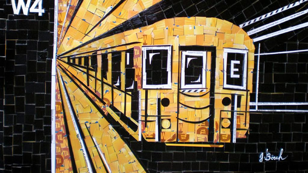 Arte hecho con billetes de metro