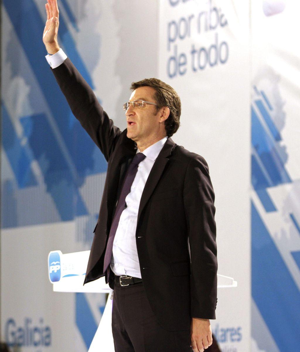 El presidente de la Xunta y candidato del PPdeG a la reelección, Alberto Núñez Feijóo, durante el cierre de la campaña electoral