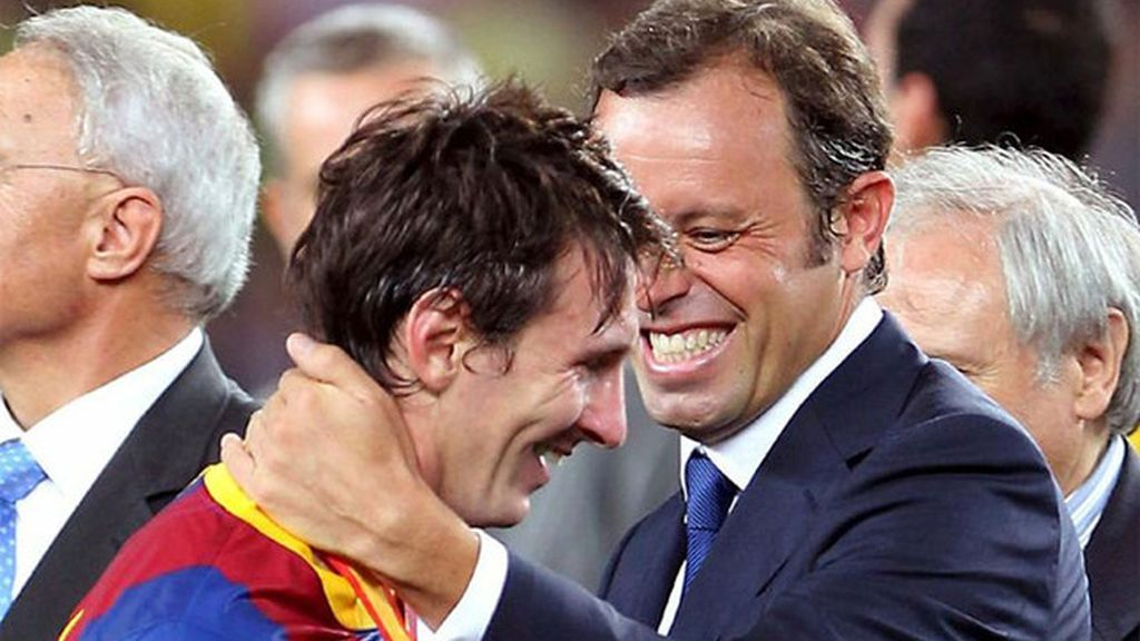 Sandro Rosell y Leo Messi