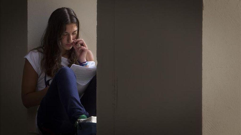 En la imagen, una alumna estudia en Sevilla antes de un examen. EFE/Archivo