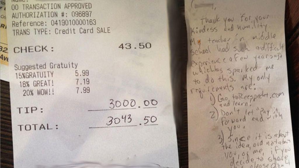 Deja más de 2000 euros de propina en un restaurante a una camarera desahuciada