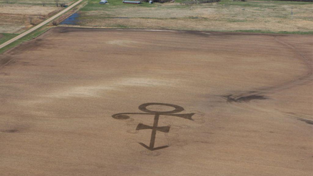 Símbolo de Prince en un campo de maíz