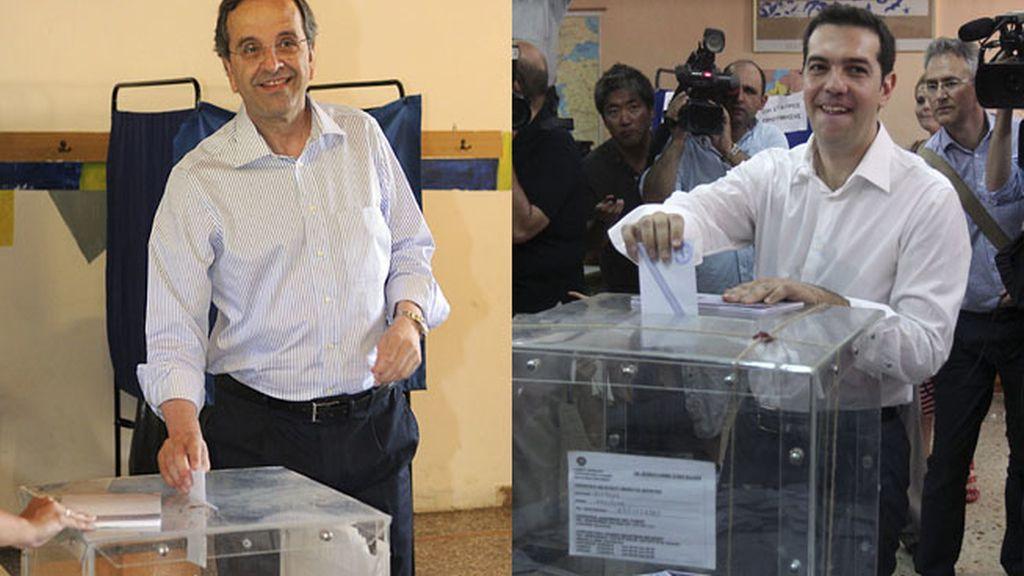 Los líderes griegos votando