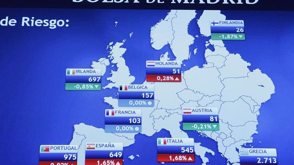 La prima de riesgo española alcanzó hoy un máximo histórico de 649 puntos básicos