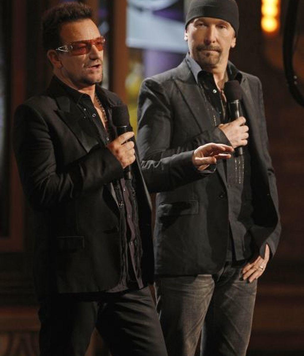Los componentes de U2, durante la gala