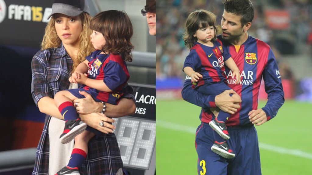 Milan y Shakira apoyan a Gerard Piqué en el Camp Nou