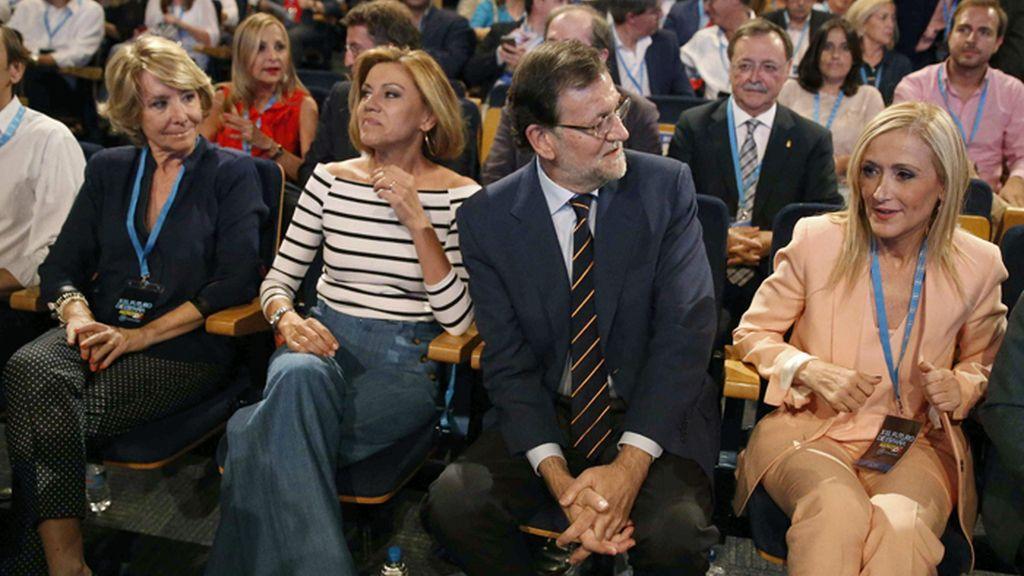 Aguirre, Cospedal, Rajoy y Cifuentes en el arranque de la Conferencia Política del PP