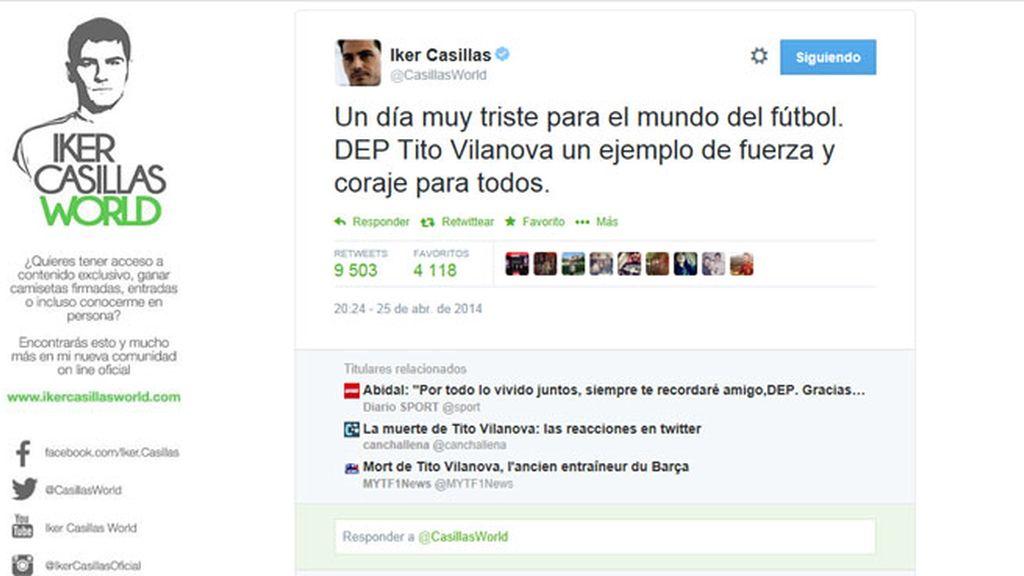 Casillas llora la muerte de Tito Vilanova en Twitter