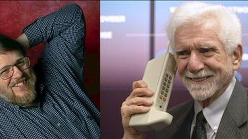 En la imagen, el ingeniero estadounidense Raymond Samuel Tomlinson (i), que junto a su compatriota Martin Cooper (d), han sido galardonado con el Premio Príncipe de Asturias de Investigación Científica y Técnica 2009 por su aportación al desarrollo del correo electrónico y de la telefonía móvil. EFE/Archivo