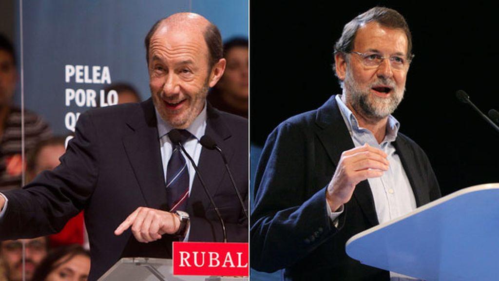 Alfredo Pérez-Rubalcaba y Mariano Rajoy, en su último día de campaña