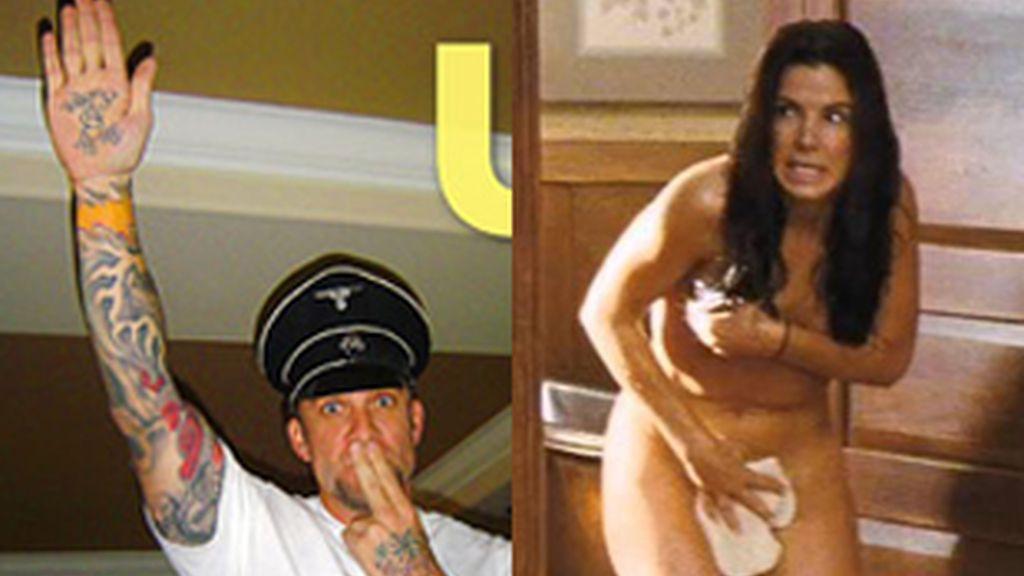 Fotografía de Jesse James publicada en el Daily Inquirer en la que aparece imitando a Hitler. A la derecha, Sandra Bullock desnuda en la película 'The Proposal'.