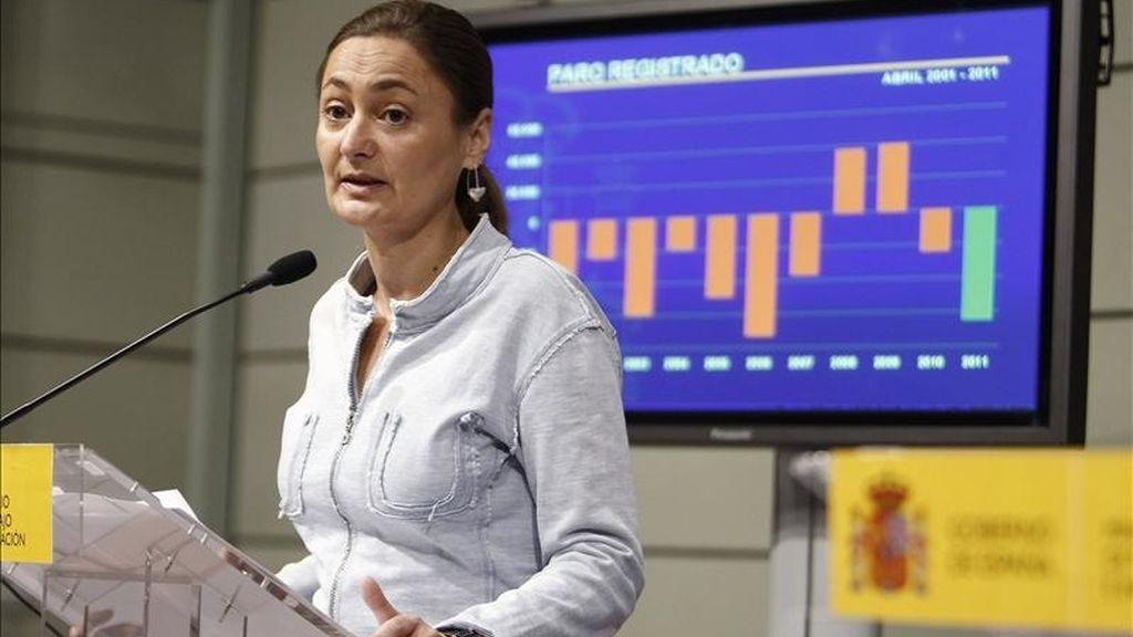 La secretaria de Estado de Empleo, Mari Luz Rodríguez, durante la rueda de prensa que ofreció para informar de los datos de desempleo del mes de abril. EFE/Archivo