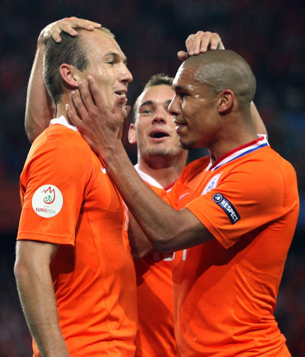 Robben celebra el tercer gol. Foto: AP