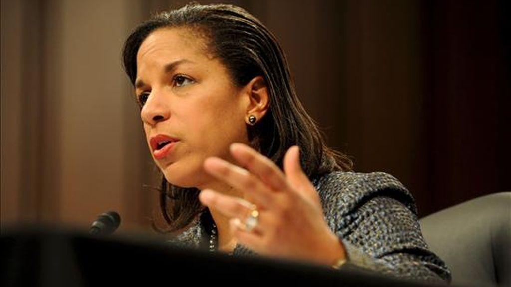 """""""Hemos decidido participar en las elecciones de este año al Consejo de Seguridad de la ONU, con la meta de hacerlo un órgano más eficiente"""", afirmó la embajadora estadounidense ante el organismo mundial, Susan Rice. EFE/Archivo"""