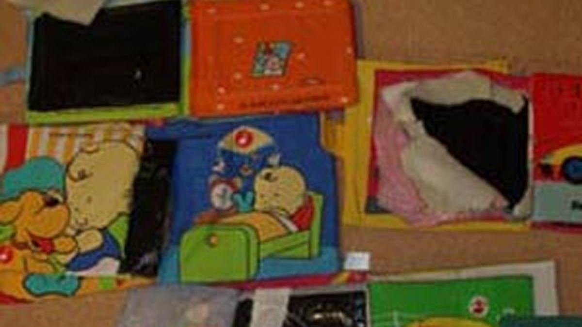 Imagen de la cocaína incautada entre artículos para niños. Foto: Guardia Civil