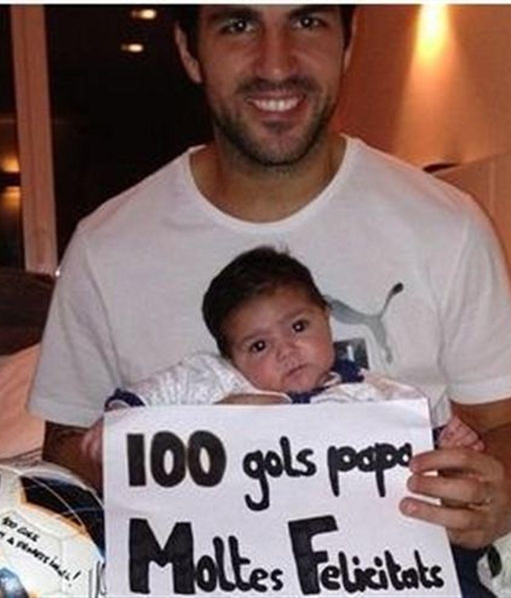 La hija de Cesc Fàbregas felicita a su padre por sus 100 goles