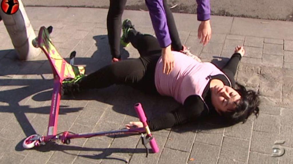 La reportera ha tenido un pequeño accidente durante el entrenamiento