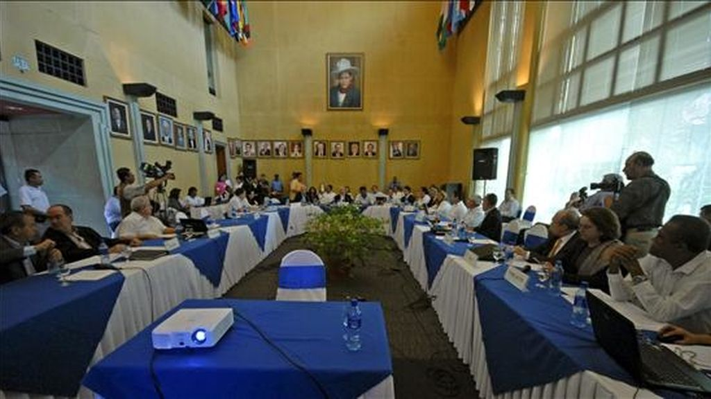 Vista general del encuentro del Consejo de Ministros de Relaciones Exteriores, en el marco de la XXXIV reunión extraordinaria de jefes de Estado Estado del Sistema de Integración Centroamericano (SICA), en Managua (Nicaragua). EFE
