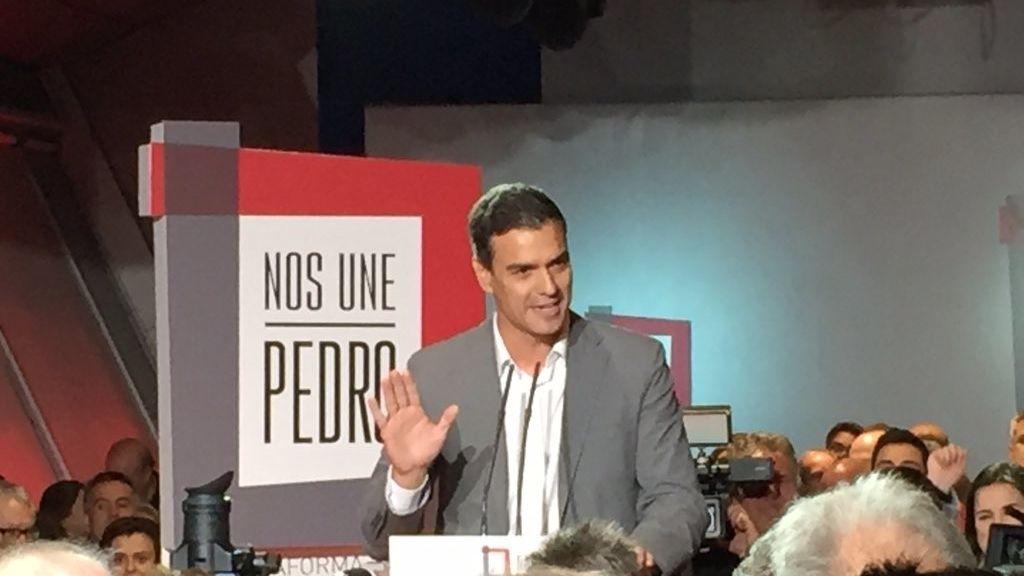 Pedro Sánchez interviene en la presentación de la campaña 'Nos une Pedro'