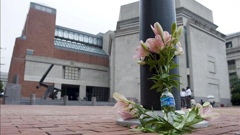 Detalle de varias flores en recuerdo del guarda de seguridad Stephen Johns, a las afueras del Museo del Holocausto en Washington, EEUU. EFE