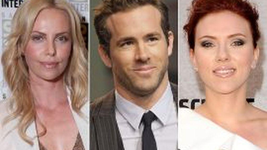 Charlize Theron, Ryan Reynolds y Scarlett Johansson podrían estar protagonizando un triángulo amoroso. Fotos: Gtres.