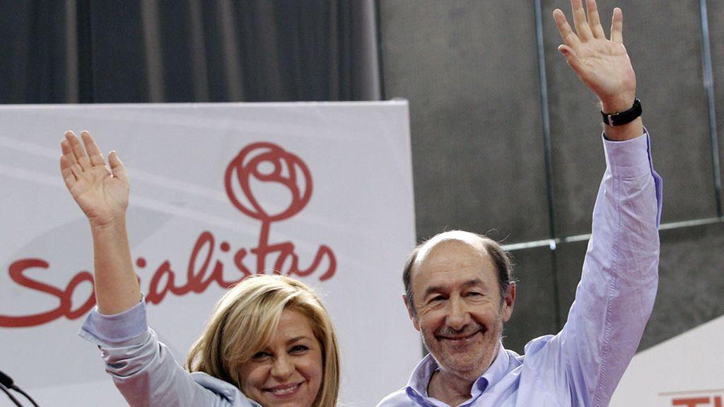Rubalcaba y Valenciano en uno de los últimos actos de campaña en Madrid