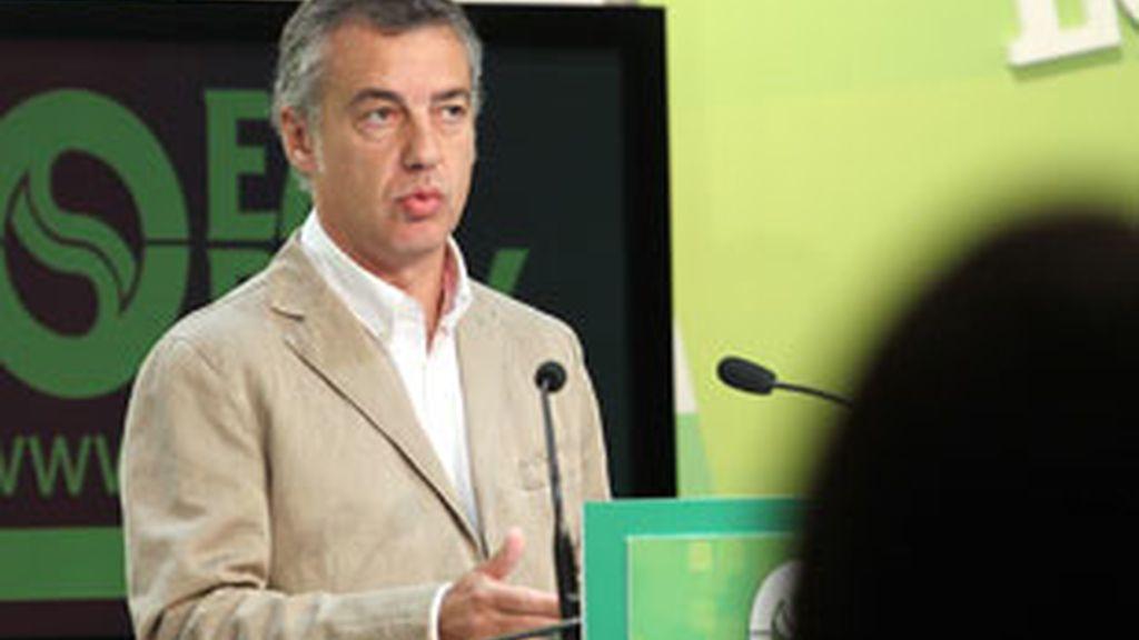 El presidente del EBB del PNV, Iñigo Urkullu, durante su comparecencia. Vídeo: ATLAS.