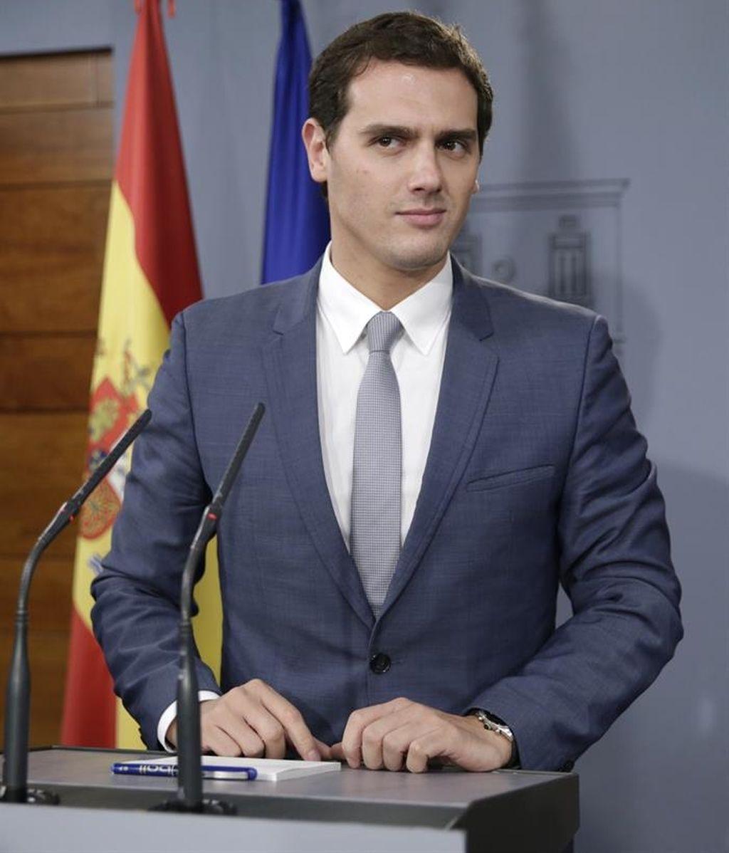 Albert Rivera en rueda de prensa en Moncloa tras reunirse con el presidente del Gobierno