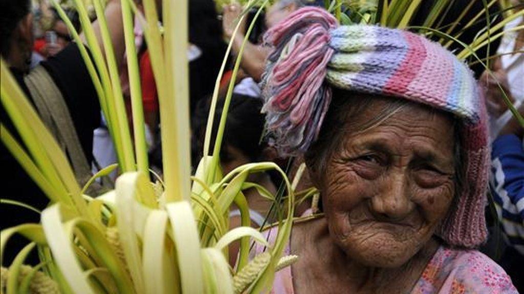 Una ciudadana hondureña participa en la celebración del Domingo de Ramos en Tegucigalpa (Honduras), festividad con la que se da inicio a los actos religiosos de la Semana Santa. EFE