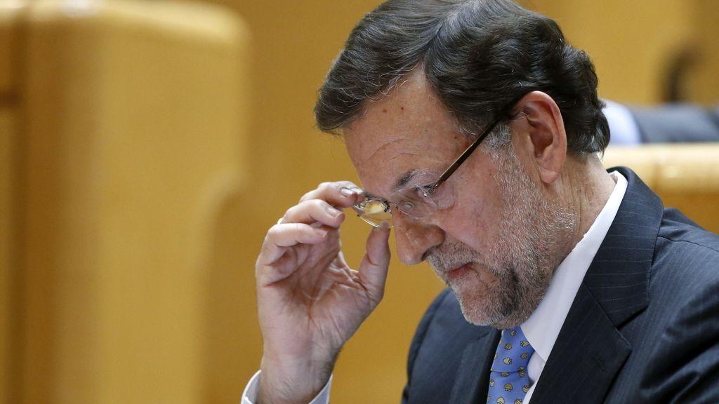 Mariano Rajoy durante su comparecencia durante la sesión de control en el Senado